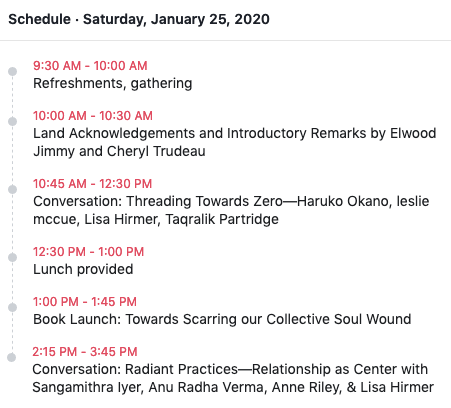 Schedule of events for Saturday January 25