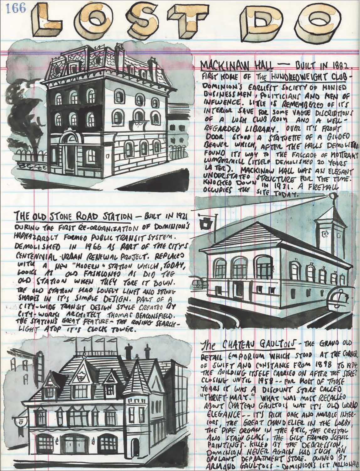 Ink drawings of three buildings on lined paper