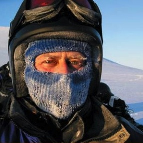 David Buckland wearing a frosty balaclava in the arctic.